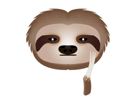 posted: sloth thoughtful in white background Illustration