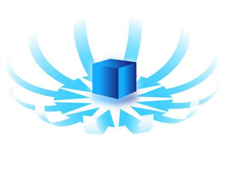 central: centrale kubus met ronde pijlen