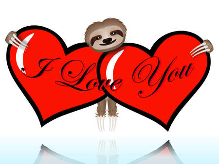 I love you with the sloth hugging two hearts Vector