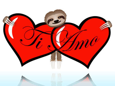 Ti amo with the sloth hugging two hearts