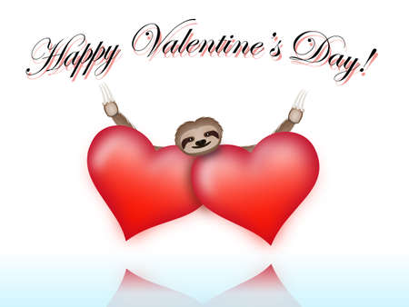 Sloth on Valentines Day hugging two hearts in love  Vector