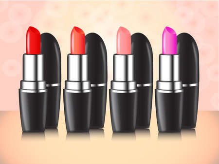 Lipstick composition in several colors photo
