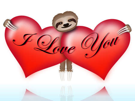 I love you with the sloth hugging two hearts photo