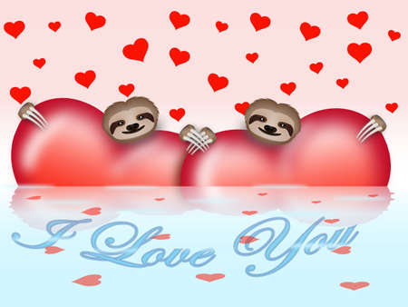 Valentines day composition with hearts and sloths photo