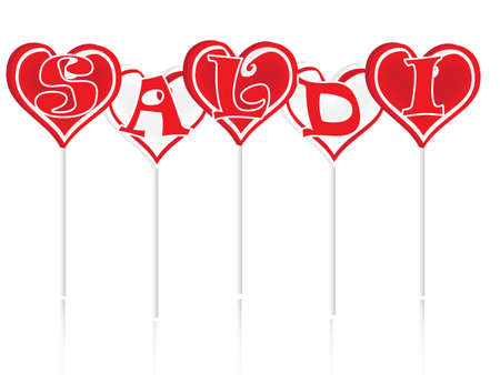 Sale text with sweet lollipops in the background photo