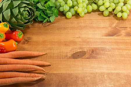 Fresh Produce on Wood Stock Photo
