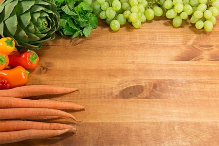 Fresh Produce on Wood Foto de archivo