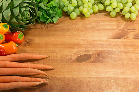 Different types of produce times placed on wood table