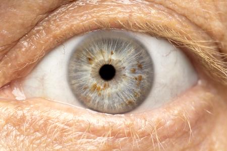Macro foto van menselijk oog, iris, leerling, wimpers, oog deksels.