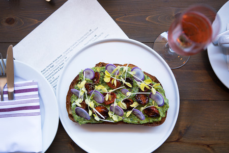 Avocado Toast at Restaurant Stock Photo