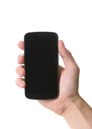 Persons hand holding a smartphone.