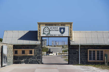 robben island: A  Welcome to Robben Island  sign at the harbour on the island Editorial