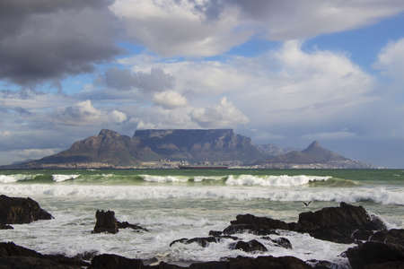 The view of Table Mountain from Blouberg on an overcast day photo