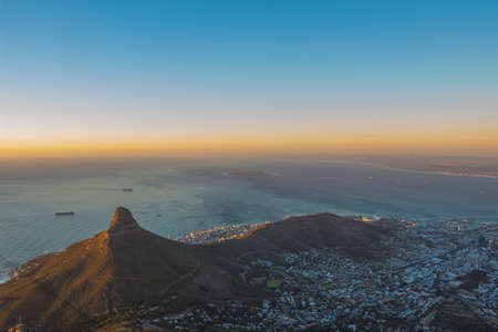 Sunset Over Lions Head With an Orange Glow photo