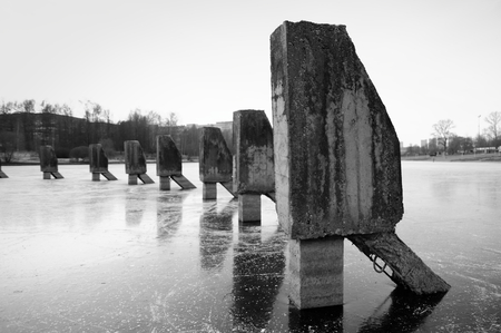 ice dam: Piles Stock Photo