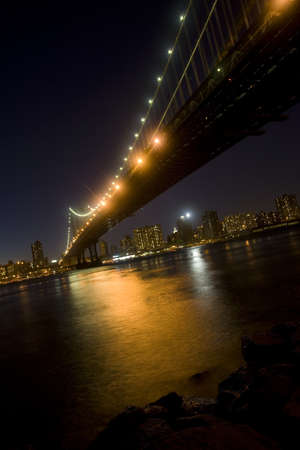The Manhattan Bridge over the East River in New York City at Night