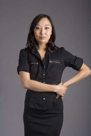 upwardly mobile: Asian American Korean Business Woman in Business Wear