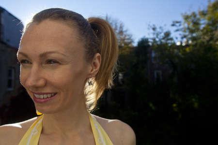 Close up head shot of mature blond woman Stock Photo - 11404445