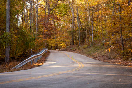 A country road seems to lead no where, on a lazy fall afternoon.  Copy space. Stock Photo