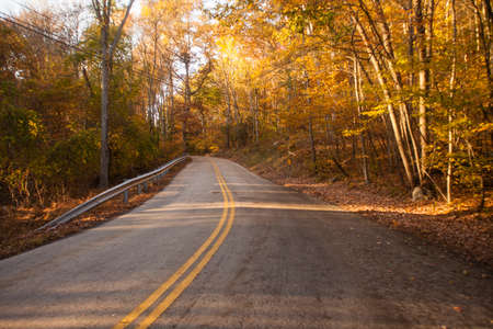Country road leading no where in late afternoon fall sunlight