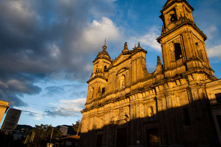 Cathedral Basilica Metropolitana de la Immaculada Concepcion in Bolivar Plaza, Bogota, Colombia, South America, bathed in later afternoon sunlight  Stock Photo
