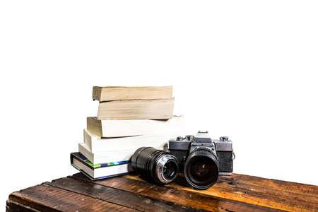 Camera Books Wood table