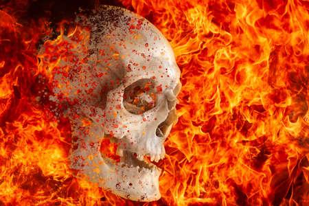 The human skull burns in a hellfire.