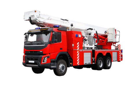 Fire rescue vehicle. Big red rescue car of Russia, isolated on white. Standard-Bild