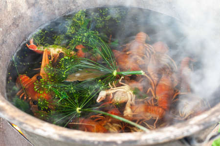Boiled crayfish in pan, a traditional Russian dish