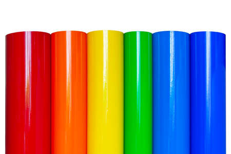 Rolls of colored vinyl film isolated on white background. Stock fotó