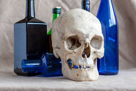 Skull on the background of alcohol bottles. The concept: the harmfulness of alcohol, death from alcohol.