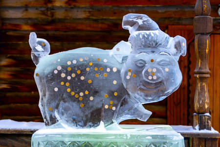 Ice sculpture-a Pig - a symbol of 2019. Ice pig happiness with coins.