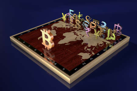 Signs of currencies of different countries VS to bitcoin on a chessboard with a field in the form of a world map. World currency. World currency. 3D render.
