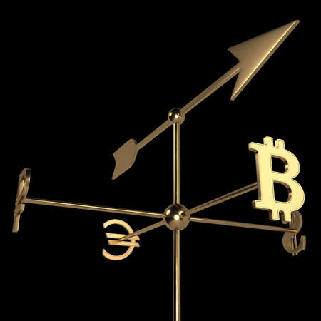 Weather vane with currency signs of different countries. The arrow indicates the rate of bitcoin cryptocurrency. 3D rendering. Isolated on black.