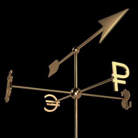 Veleta con signos de moneda de diferentes países. El cursor apunta en la dirección del símbolo de la moneda de Rusia: el rublo. Representación 3D. Aislado en negro. Foto de archivo