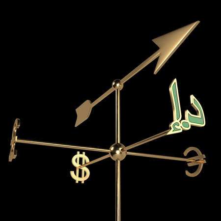 Weather vane with currency signs of different countries. The cursor points in the direction of the UAE currency symbol-dirham . 3D rendering. Isolated on black.