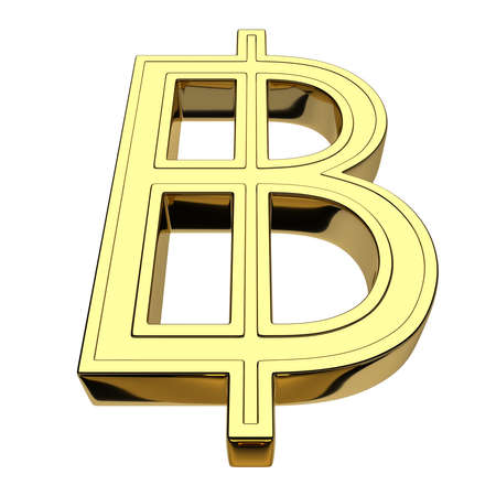 3D rendering of the currency symbol for Thai baht, gold, isolated on white background. Front view from below. Front view from below. Imagens