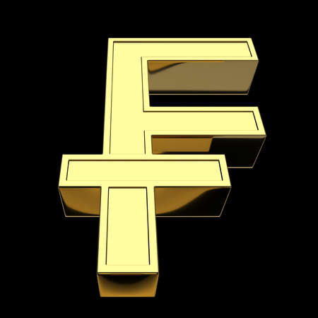 3D rendering currency symbol Swiss franc, golden, isolated on black background. Front view from below.
