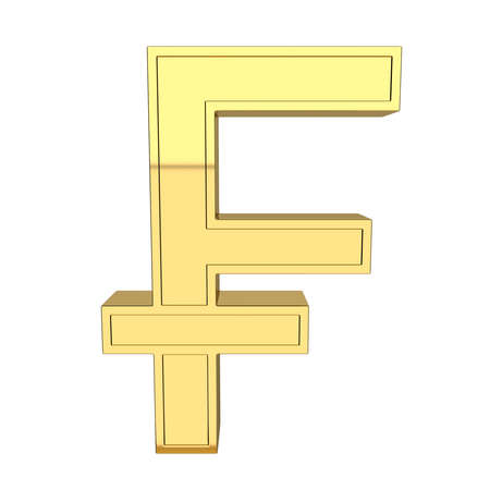 3D render of the symbol of the Swiss currency. Swiss frank. Metallic, gold, isolated on white background.