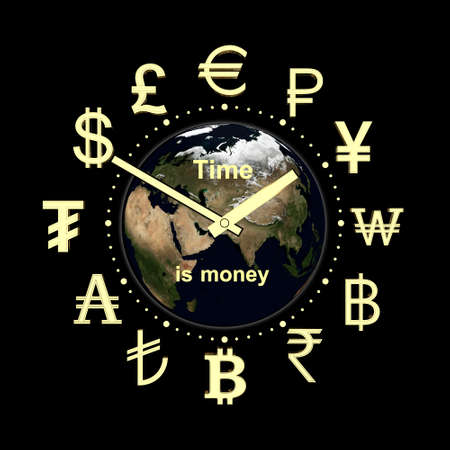 3D rendering of the clock on the Earth background, with the inscription
