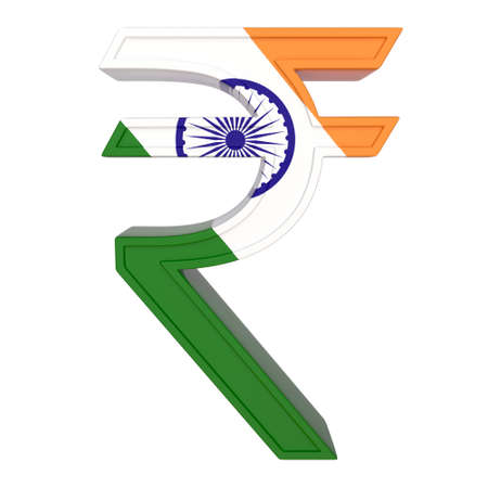 Currency symbol with national flag. Indian rupee. 3d render isolated on white. Front view. Standard-Bild - 115599542