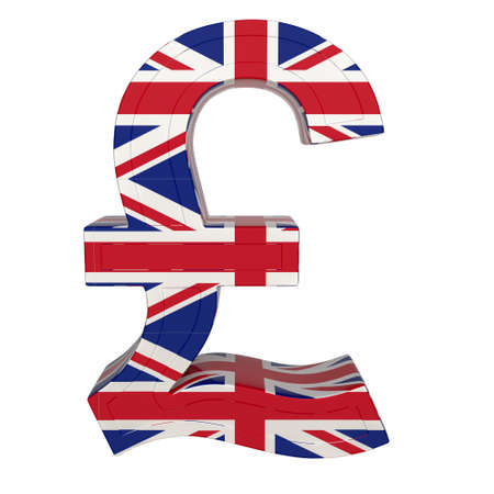 Currency symbol with national flag. British pound. 3d render isolated on white. Front view.