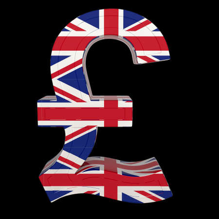 Currency symbol with national flag. British pound. 3d render isolated on black. Front view.
