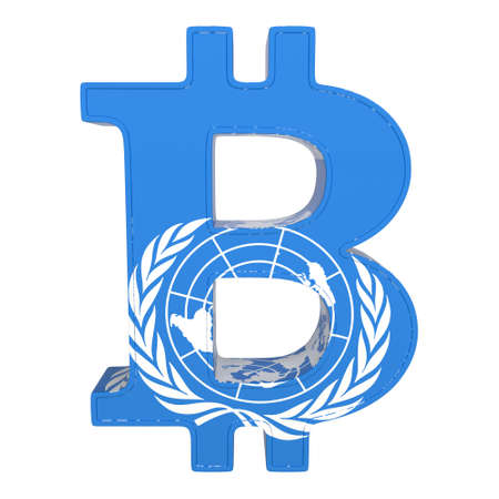 The currency symbol with the flag of the United Nations. Bitcoin is a cryptocurrency. 3D rendering isolated on white. Frontal view. Standard-Bild - 115599644