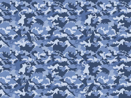 Camouflage background in blue, seamless. Hunting fashion, stylized images of wild animals and hunters.
