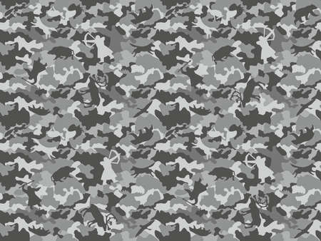 Camouflage background in gray, seamless. Hunting fashion, stylized images of wild animals and hunters.