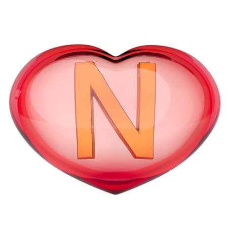The Golden letter  N  inside the heart of red glass. Isolated on white. 3D render. Stok Fotoğraf