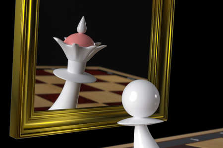 The pawn looks in the mirror and sees the Queen in the reflection. Concept: Delusions of grandeur, Dreams, the Pawn turns into a Queen. On a black background. 3D-rendering, illustration.