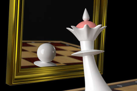 The Queen looks in the mirror, sees the Pawn in the reflection. Concept: Delusions of grandeur, arrogance, duplicity and disappointment. On a black background. 3D-rendering, illustration. Foto de archivo