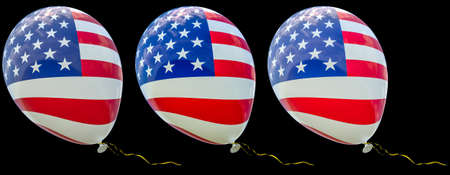 3 balloons with the image of the national flag of USA, with different intensity of color. 3D render illustration isolated on black background. Banco de Imagens